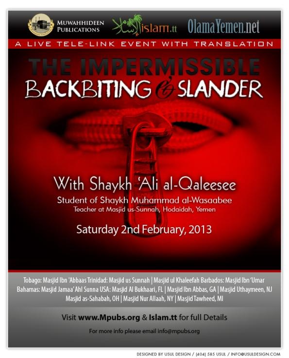 The Impermissible Backbiting and Slander - Shaykh 'Ali al-Qaleesee