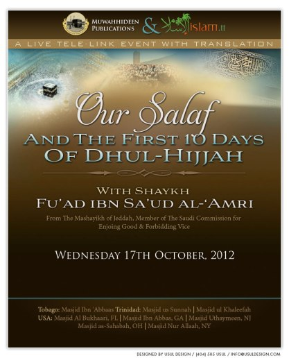 Our Salaf and The First 10 Days of Dhul-Hijjah by Shaykh Fuad al-Amri