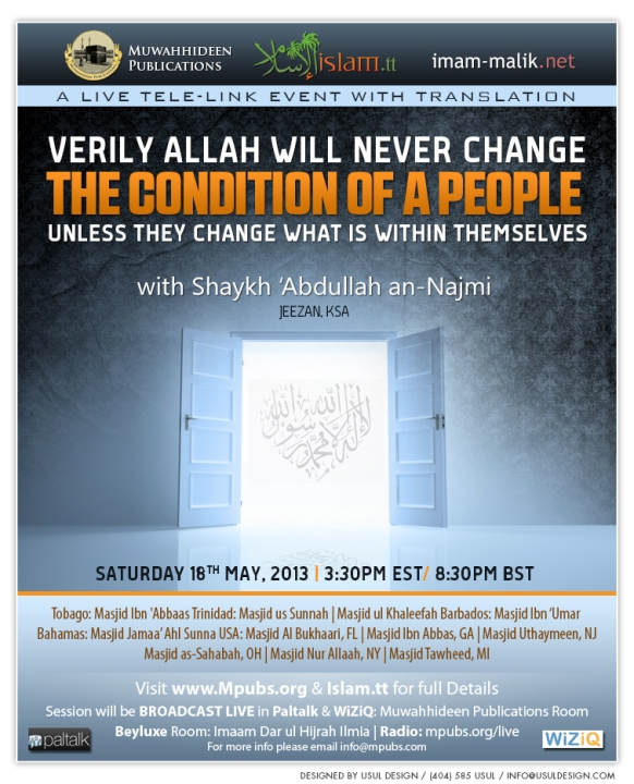 Verily Allah Will Never Change The Condition of A People Unless They Change What Is Within Themselves - Shaykh Abdullah an-Najmi